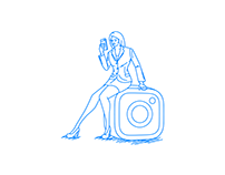 A woman sitting on a camera icon