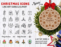 Christmas and New Year icons and Greeting cards