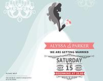 Wedding invitation cards set, Groom and Bride