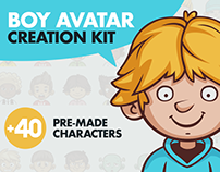Cartoon Boy Avatar Creation Kit + 40 Premade Characters