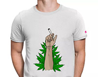 Weed Joint Hand Tshirt