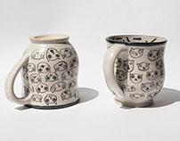 Cat face Mugs and Bowl