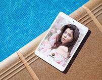 Free iPad Mockup Beside Swimming Pool