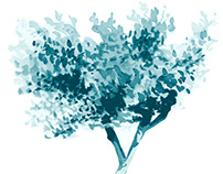 Teal Tree with Detailed Leaves