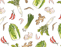 Let's Make Kimchi! Hand-painted Pattern