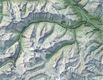 Hand-Drawn Map - Color mountain terrain