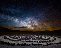 Milky Way rising above mystical labyrinth