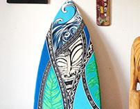 Villa Tiki Surfboard painting