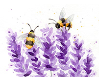 Bees and Lavender Watercolors