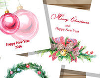 Watercolor  Christmas And New Year  Greeting Cards