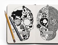 sketch skull t shirt design