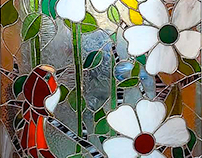 The red bird stained glass ( tiffany )