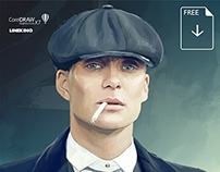 Gangster Tommy, vector graphics portrait (free .cdr)