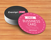 Free Circle Business Card Mockup PSD