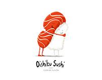 Oishiku Sushi. Ilustración y logotipo