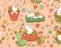 Bunnies and Daisies Pattern