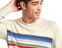 gap, men's chest-stripe crew; sweater design