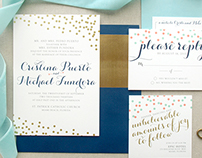 Gold Confetti Wedding Invitation Suite