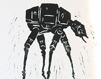 Star Wars & Dali | 21x30cm | Linocut\Video