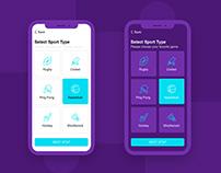 Sport game Mobile app Dashboard