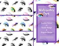 Watercolor Eyes seamless pattern