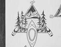Kayak Adventure Nature Drawing