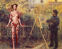 Lara Stone featuring in Renoir - collages