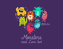 Monster Love seamless pattern design