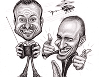'Boys and their Toys' - Caricature