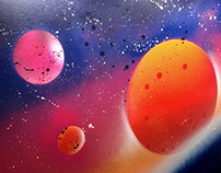 Space. Spray paint art