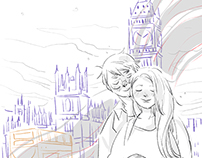 Sketch for the book 'Mẹ, em bé và bố'.