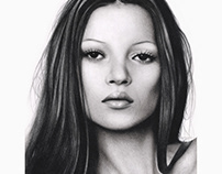 Kate Moss, Colored Pencil