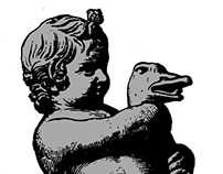 A boy breaking the neck of a goose.