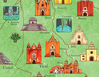 Yucatán Peninsula - Illustrated map