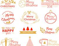 FREE MERRY CHRISTMAS & HAPPY NEW YEAR LOGO SET