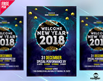 New Year 2018 Flyer Free PSD