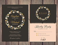 Wreath wedding invitation + RSVP