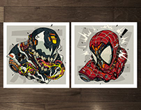 MECHASOUL SPIDEY + VENOM FINE ART PRINT SET