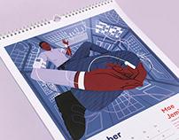 2021 Calendar illustration of Mae Jemison