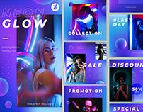 Neon glow social media graphic templates