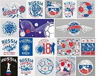 Russia soccer play graphic design vector art
