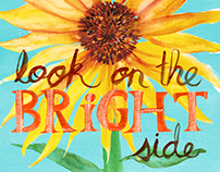 Look on the Bright Side gouache painting