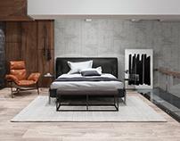 Bedroom. Design loft. Interior.