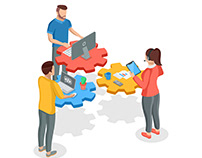 Teamwork people isometric banner