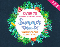 Watercolour Painting Design Set / 70 graphics in .PNG