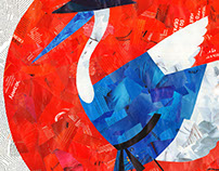 "collage ""dancing stork"""