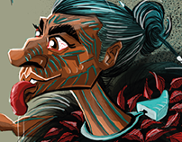 Maori Warrior Illustration