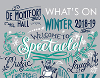 All hand-lettered cover for De Montfort Hall Winter