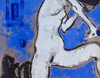 Nude figure on blue.