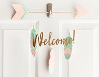 Boho Birthday Welcome Sign